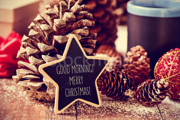 text good morning merry christmas in a star-shaped blackboard Stock photo © nito