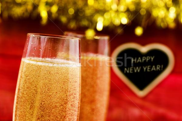シャンパン 文字 明けましておめでとうございます クローズアップ 2 眼鏡 ストックフォト © nito