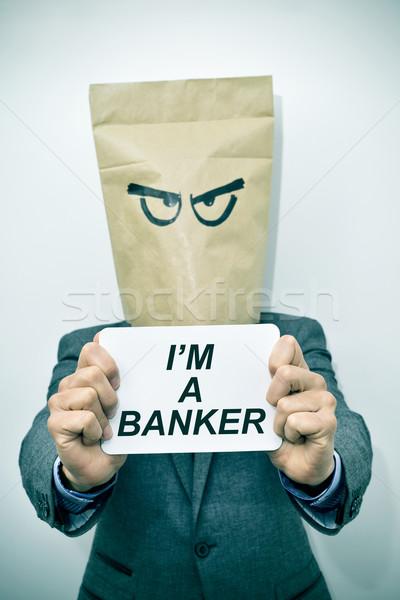 Homem texto banqueiro jovem caucasiano Foto stock © nito