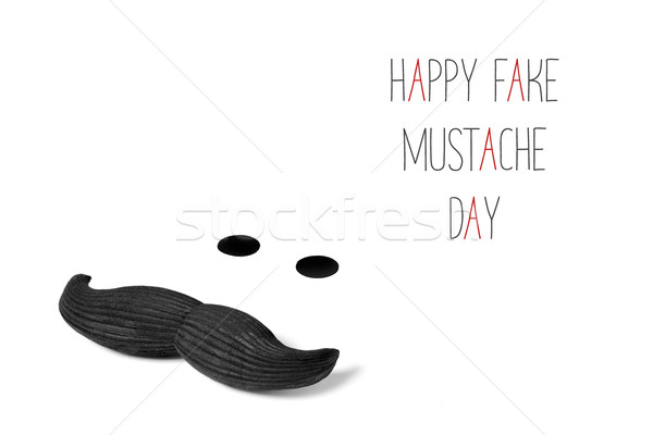 mustache and text happy fake mustache day Stock photo © nito