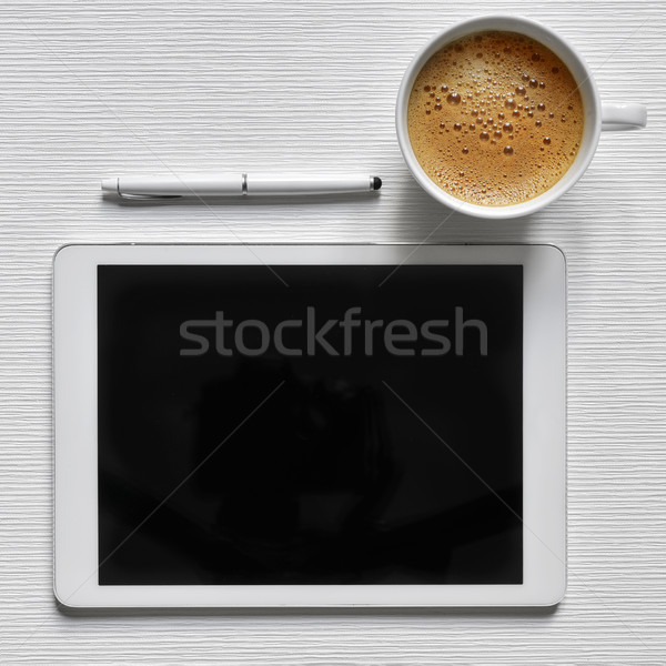 coffee and tablet computer with a black blank space Stock photo © nito