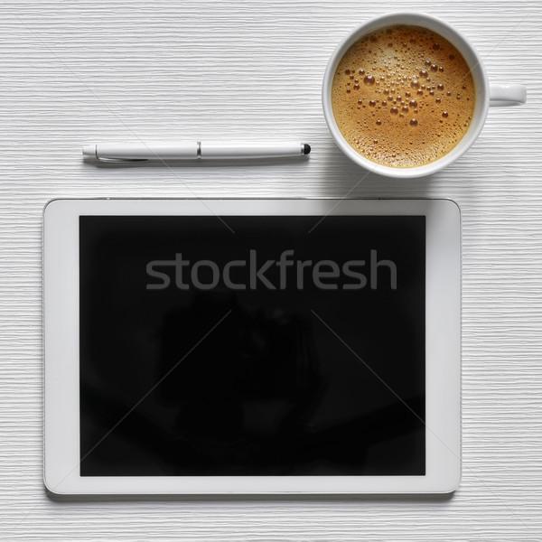 Kávé táblagép fekete üres hely lövés képernyő Stock fotó © nito