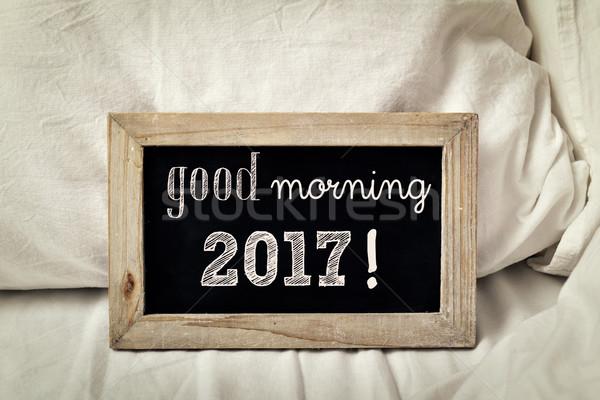 文本 早安 黑板 書面 床 集 商業照片 © nito