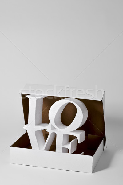 the word love in three dimensions in a box Stock photo © nito