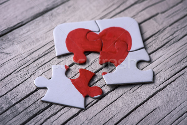puzzle pieces which form a heart Stock photo © nito