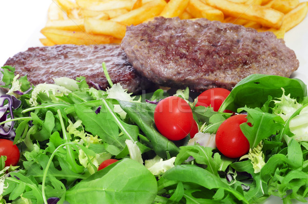 combo platter with salad, burger and french fries Stock photo © nito