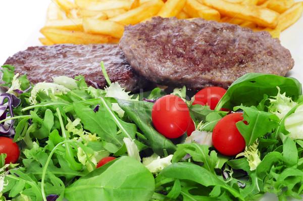 Combinação salada burger prato Foto stock © nito