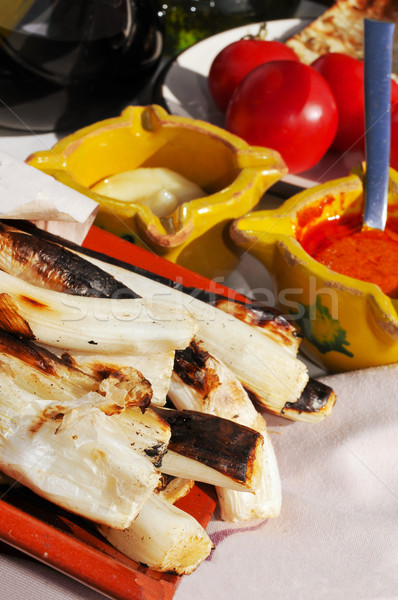 barbecued calcots, sweet onions, and romesco sauce and allioli t Stock photo © nito