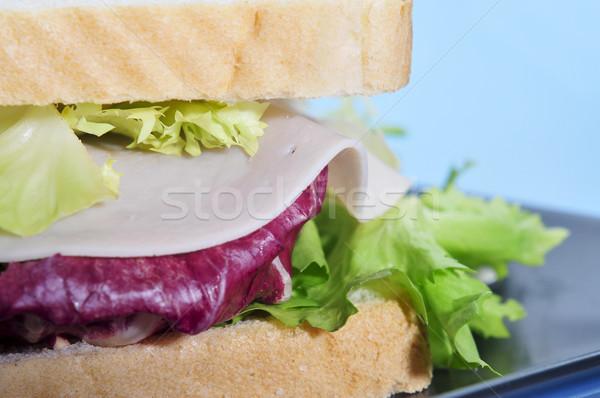 サンドイッチ クローズアップ ハム 野菜 パン チーズ ストックフォト © nito