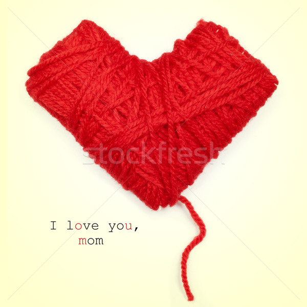 heart-shaped coil of red yarn and text I love you, mom Stock photo © nito