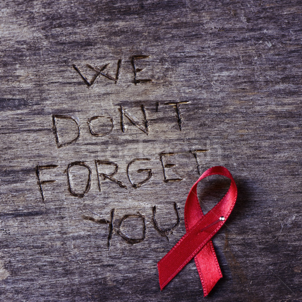 red ribbon and text we do not forget you Stock photo © nito