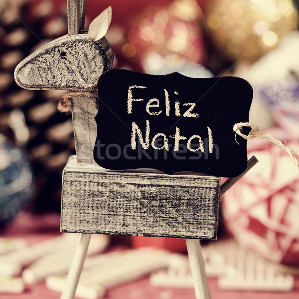 reindeer and text feliz natal, merry christmas in portuguese Stock photo © nito