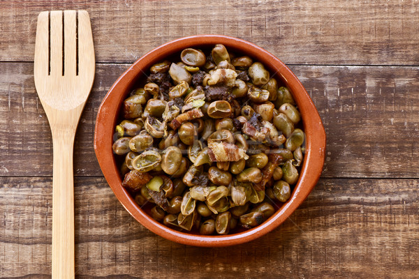 habas a la catalana, a spanish recipe of broad beans Stock photo © nito