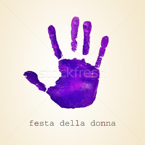 фиолетовый текста Женский день итальянский бежевый женщину Сток-фото © nito