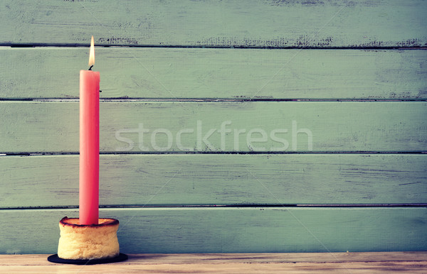 lit candle on a cheesecake Stock photo © nito
