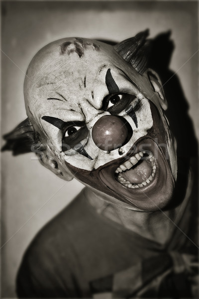 Scary kwaad clown sepia portret retro Stockfoto © nito
