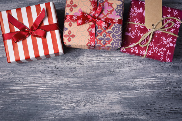 cozy gifts on a wooden surface Stock photo © nito