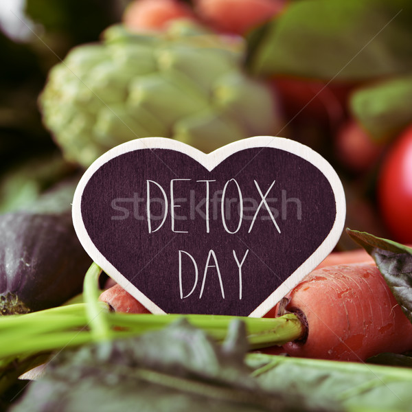 raw vegetables and text detox day Stock photo © nito