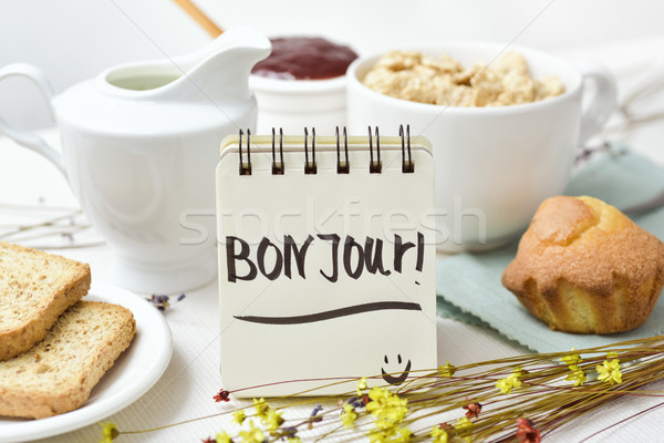 breakfast and text good morning in french Stock photo © nito