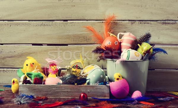 Stock fotó: Tollak · játék · díszített · húsvéti · tojások · köteg