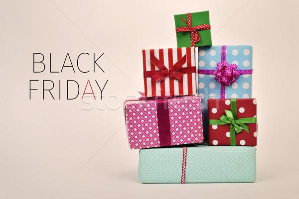 Presentes texto black friday documentos diferente Foto stock © nito