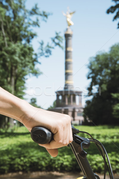 man riding a bike in front of the Victory Column Stock photo © nito