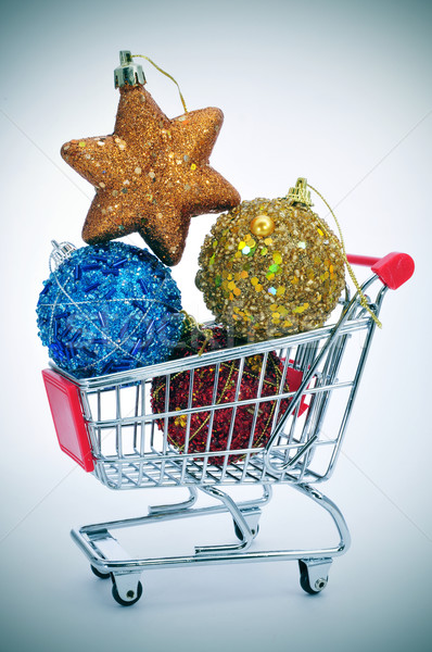 christmas ornaments in a shopping cart Stock photo © nito