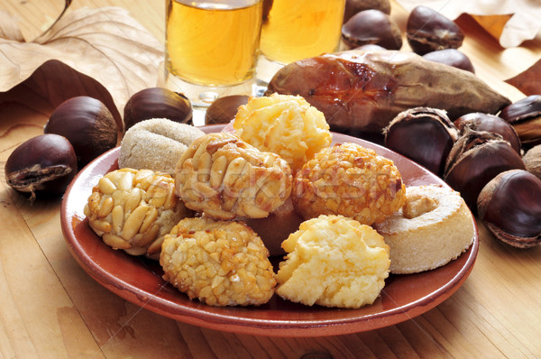 panellets and roasted chestnuts and sweet potatoes, a typical di Stock photo © nito