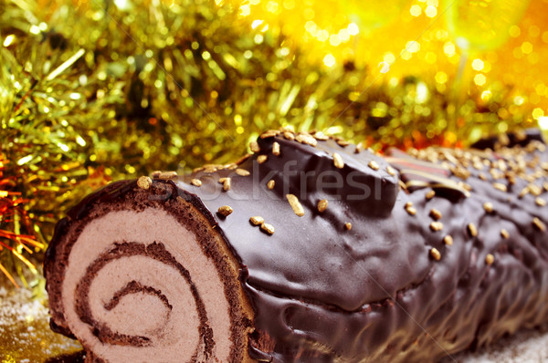 yule log cake, traditional of christmas time Stock photo © nito