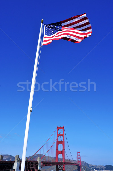 Golden Gate Bridge San Francisco Estados Unidos bandeira céu ponte Foto stock © nito