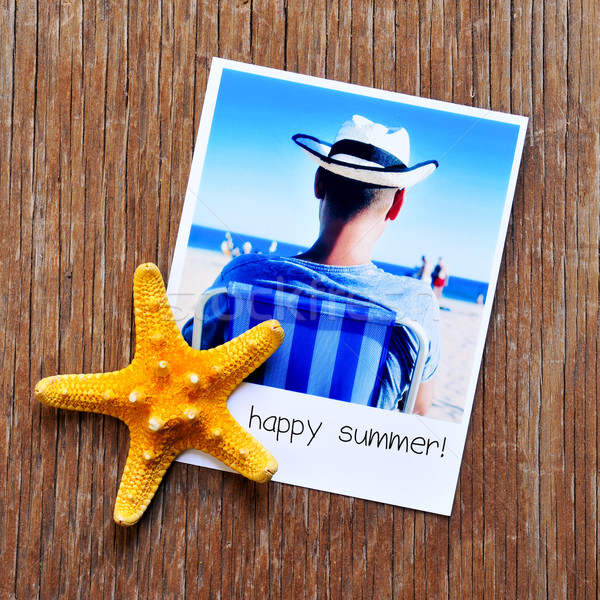 Starfish immediato foto testo felice estate Foto d'archivio © nito