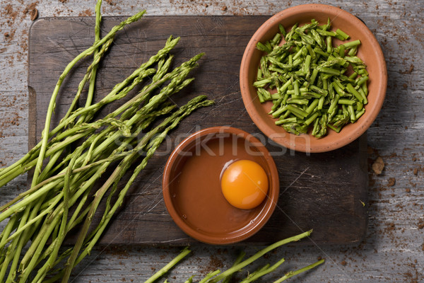 ingredients to prepare an asparagus omelet Stock photo © nito
