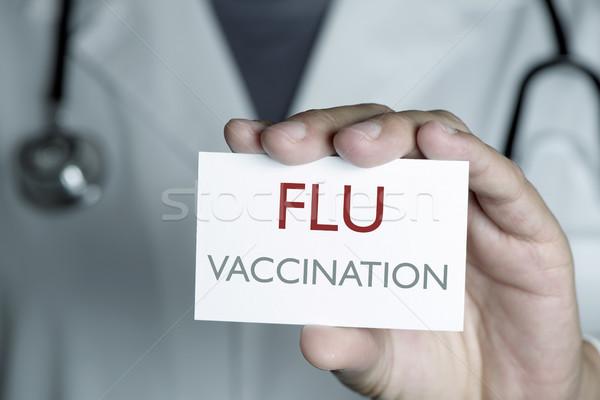 Medico testo influenza vaccinazione primo piano giovani Foto d'archivio © nito