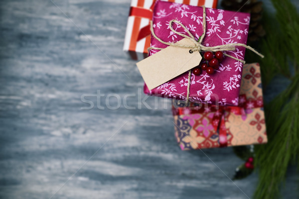 cozy christmas gifts wrapped in nice papers Stock photo © nito