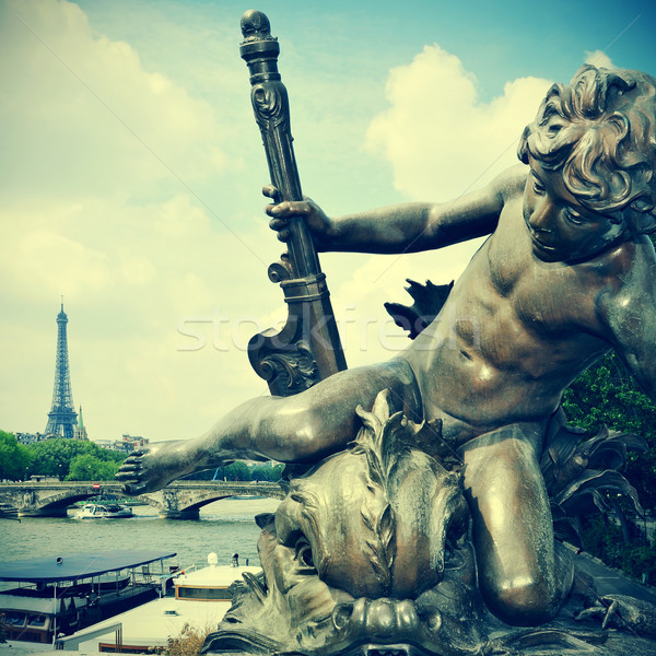 Stok fotoğraf: Paris · Fransa · resim · nehir · Eyfel · Kulesi · Retro