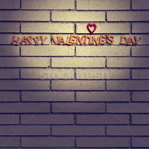 Gelukkig valentijnsdag houten brieven muur hout Stockfoto © nito