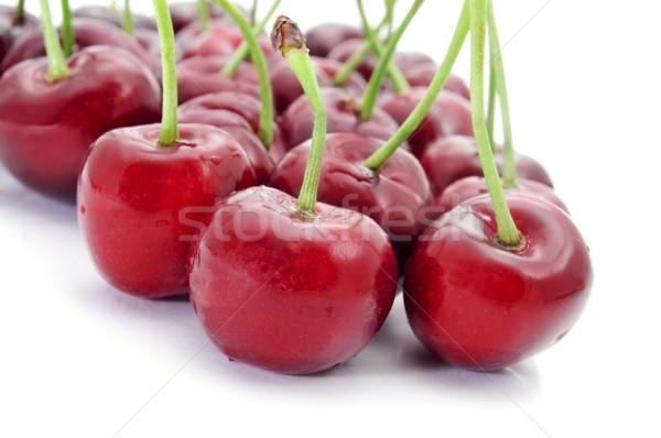 Appetitoso ciliegie primo piano bianco frutta sfondo Foto d'archivio © nito