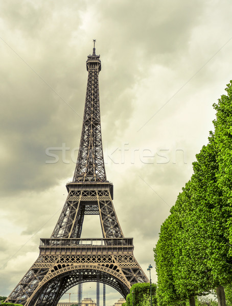 the Eiffel Tower in Paris, France, with an effect of old postcar Stock photo © nito