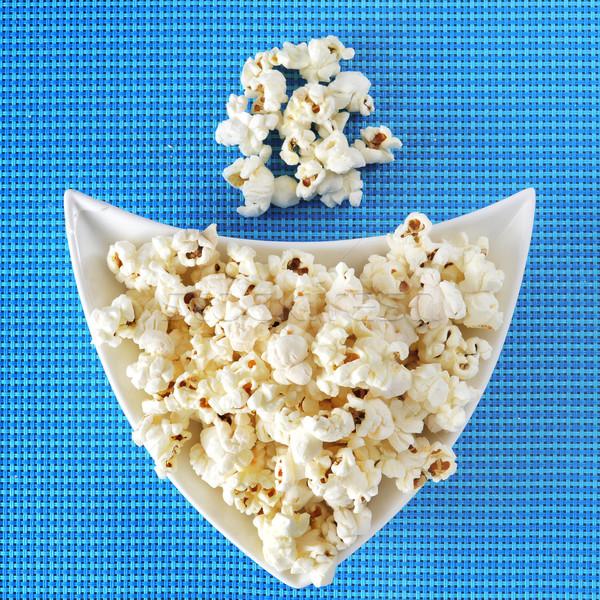 Apetitoso palomitas tazón azul mantel bar Foto stock © nito