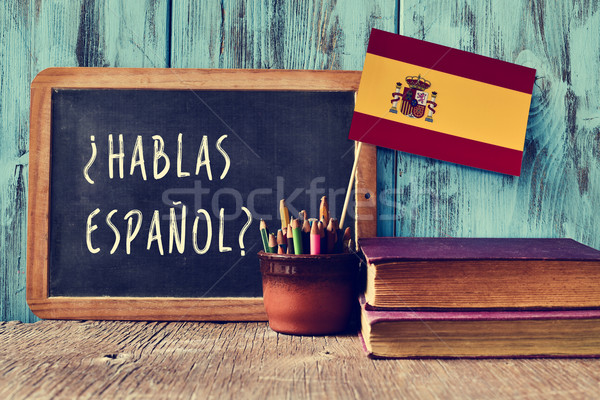 question hablas espanol? do you speak Spanish? Stock photo © nito