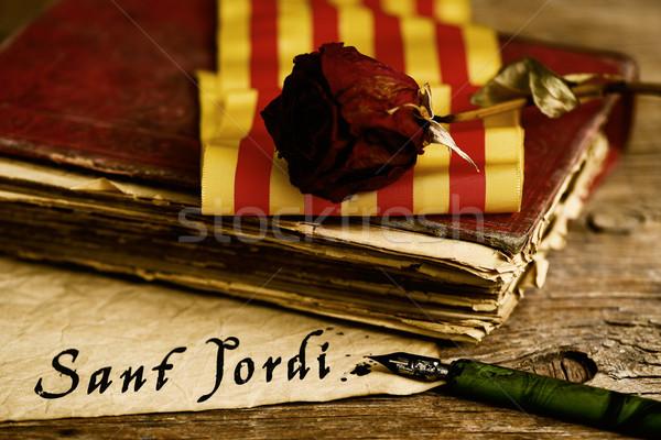 book, rose, catalan flag and text Sant Jordi Stock photo © nito