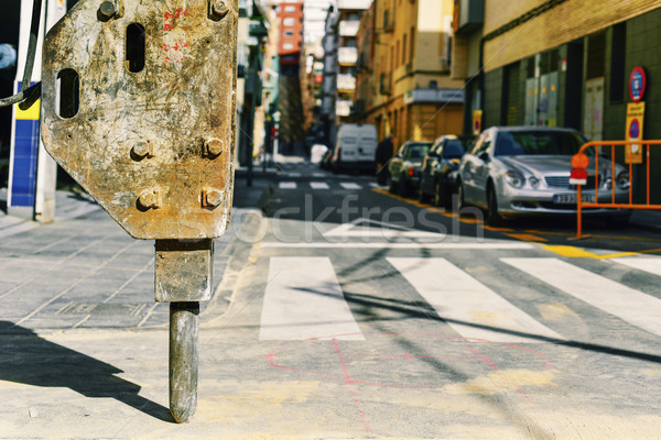 roadworks in the street of a city Stock photo © nito
