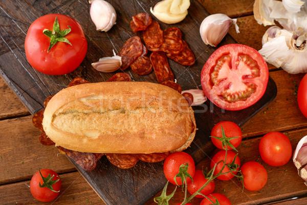 испанский чоризо сэндвич выстрел свинина Сток-фото © nito