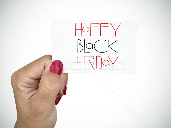 woman wishing a happy black friday Stock photo © nito