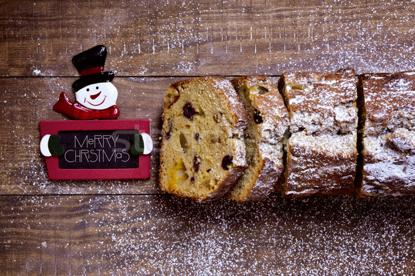 fruitcake and text merry christmas Stock photo © nito