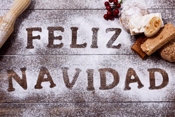 Tekst vrolijk christmas spaans shot houten tafel Stockfoto © nito