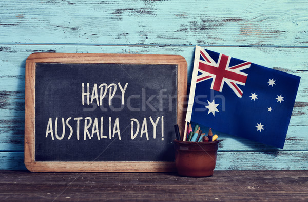 Stock photo: text happy Australia Day in a chalkboard