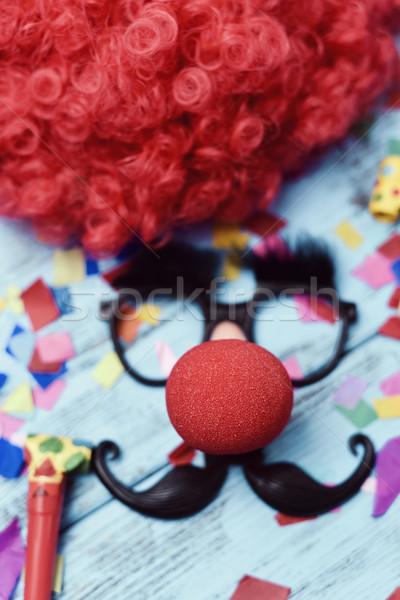 Sahte gözlük palyaço burun bıyık kırmızı Stok fotoğraf © nito