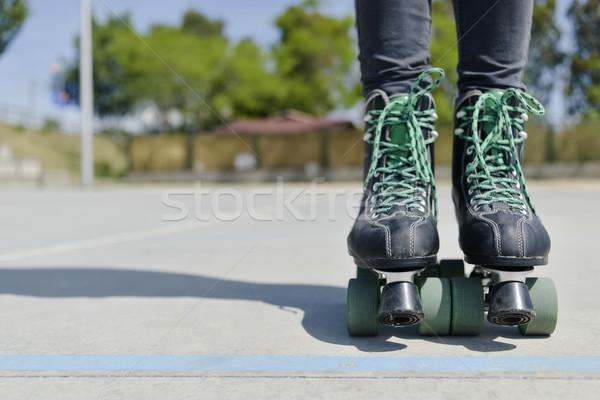 young man wearing quad skates Stock photo © nito