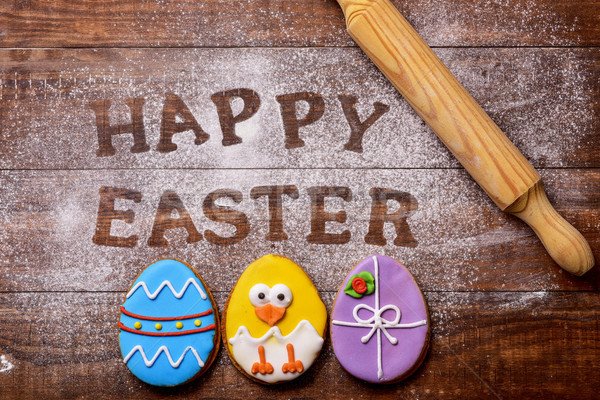 Zdjęcia stock: Tekst · wesołych · Świąt · cookie · Easter · Eggs · shot · drewniany · stół